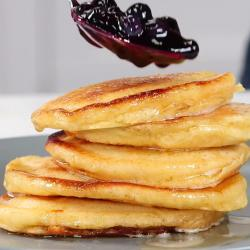 Ricotta Pancakes with Brown Butter-Maple Syrup