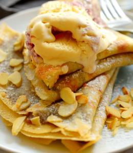 Vegan Crepes with Pumpkin Spice Almond Butter and Nice Cream